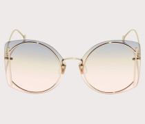 Sonnenbrille Glänzend Goldfarbene/grün lachsfarbene Gläser