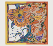 Macro orchid print silk scarf