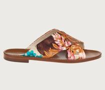 Flache Sandale mit Giardino Print –ECONYL®Nylon