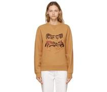 Tan Big Fox Embroidery Sweatshirt