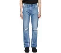 Distressed Straight-Cut Jeans