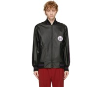 Faux-Leather Award Bomber