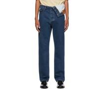 Classic Asymmetric Waist Jeans
