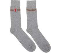 Embroidered TB Monogram Stripe Socke