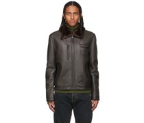 Leather Aviator Jacke