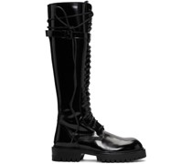Patent Lace-Up Knee-High Stiefel