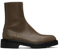 Leather Zip Chelsea Stiefel