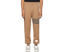 Tan Double-Faced Cashmere 4-Bar Lounge Hosen