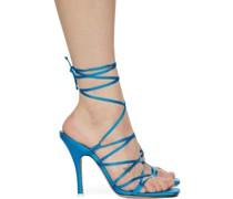 Satin Lace-Up Heeled Sandale