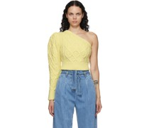 Single-Shoulder Cable Cropped Pullover