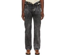 Wash Knotted Waist Jeans