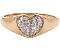 Diamond Pavé Folded Heart Ring
