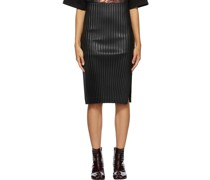 Faux-Leather Pleated Mid-Length Rock