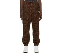 & Fleece Leopard Lounge Hosen