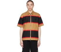 Tan & Zippered Short Sleeve Hemd