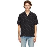 Diagonal Stripe Short Sleeve Hemd