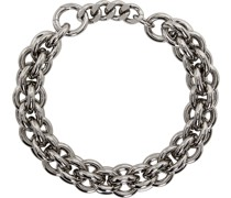 Leather Details Chunky Chain Halskette