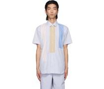 Stripe Paneled Short Sleeve Hemd