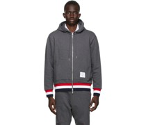 French Terry Stripe Zip-Up Hoodie