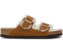 Tan Shearling & Suede Arizona Fur Sandale