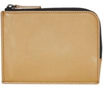 Tan Zipper Brieftasche