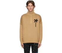 Wool Zipped Palm Tree Rollkragenpullover
