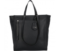 Juna Shopper Tasche Leder black/nickel