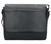 Stockholm Aktentasche Leder Laptopfach black
