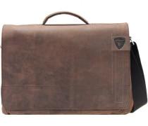 Richmond Messenger Leder Laptopfach dark brown