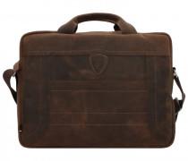 Hunter Aktentasche Leder Laptopfach dark brown