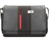 Urban Messenger Leder Laptopfach grey black