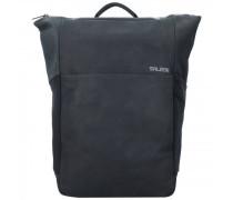 Plain Rucksack RFID Leder Laptopfach charcoal black