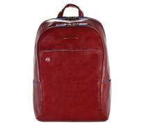 Blue Square Rucksack Leder Laptopfach red