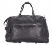 2-Rollen Reisetasche Leder nero