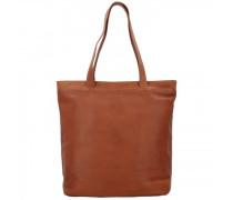 Wax Pull Up Bonn Shopper Tasche Leder Laptopfach cognac
