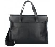 Stockholm 45 Handtasche Leder Laptopfach black