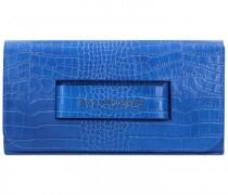 Clutch Tasche Leder 27cm blue