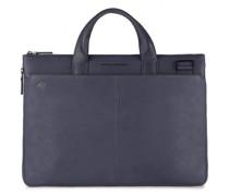 Black Square Aktentasche Leder Laptopfach blue4