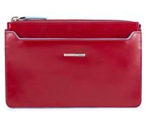 Blue Square Clutch Tasche RFID Leder red