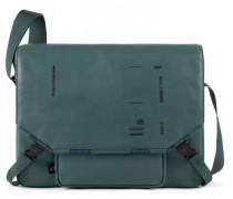 Kyoto Messenger Leder Laptopfach green