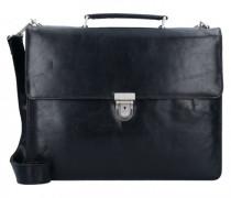 Cambridge Aktentasche Leder Laptopfach schwarz