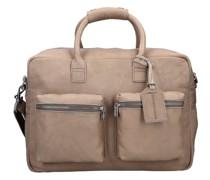 The College Bag Aktentasche Leder Laptopfach elephant grey