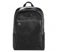Blue Square Rucksack Leder Laptopfach black