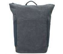 Plain Rucksack RFID Leder Laptopfach slate grey