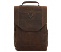 Hunter Rucksack Leder Laptopfach dark brown
