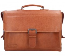 Quartz Aktentasche Leder Laptopfach cognac