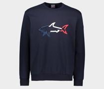 Sweatshirt aus Bio-Baumwolle mit aufgesticktem 3D-Hai