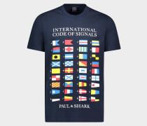 T-Shirt aus Bio-Baumwolle mit Logo und nautischen Flaggen