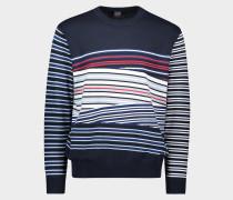Pullover mit Rundhalsausschnitt aus Bio-Baumwolle mit unterschiedlichen Streifen