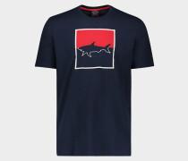 Kurzarm-T-Shirt mit Hai Print und Stickerei